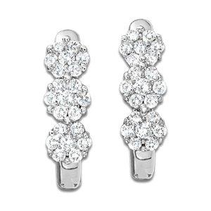 1/4 CT. T.W. Diamond Three Flower Hoop Earrings in 10K White Gold