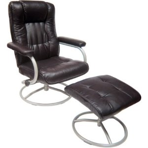 $99 Mainstays Swivel Recliner with Ottoman, Brown