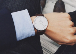 Daniel Wellington Men's 0207DW St. Mawes Stainless Steel Watch with Brown Leather Band