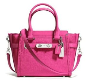 COACH Swagger Small Pebbled Leather Satchel in Dahlia