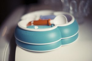 $24.44(reg.$29.95) BABYBJORN Plate and Spoon, Turquoise/Orange, 2-Count
