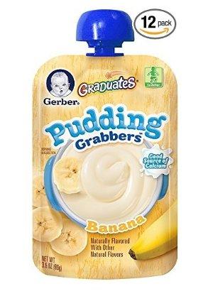 $12 Gerber Graduates Grabbers Pudding, Banana, 3.5 Ounce (Pack of 12)