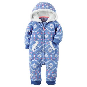 Baby Girl Hooded Fleece Jumpsuit