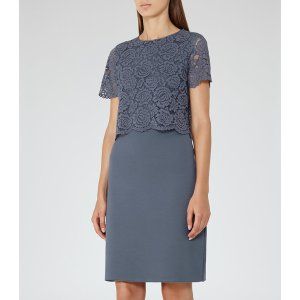 Darby Slate Lace And Neoprene Dress