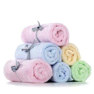Baby Washcloths, 100% Organic Bamboo Fiber, 10 x 10 inches, 6 Packs, 4 Colors