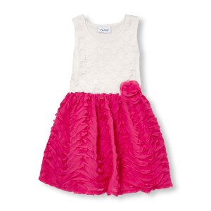 Girls Sleeveless Rosette Lace And Ruffle Flare Dress | The Children's Place