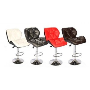 New SET of (2) Bar Stools Leather Hydraulic Swivel Dinning Chair Barstools S88