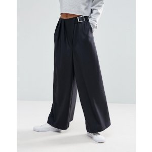 ASOS WHITE Wide Leg Pants With Buckle Detail