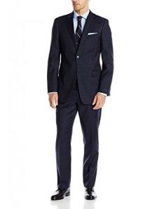As Low as $98.6 Tommy Hilfiger Men's Blue Pin Dot 2 Button Side Vent Trim Fit Suit