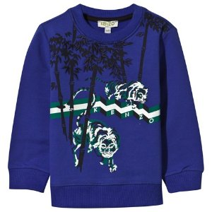 Kenzo Kids Royal Blue Tiger and Jungle Print and Embroidered Sweatshirt | AlexandAlexa