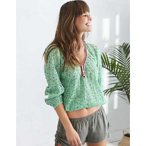 Aerie Embroidered Trim Peasant Top , Green | Aerie for American Eagle