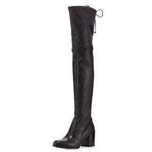 Stuart Weitzman Tieland Leather Over-the-Knee Boot, Nero