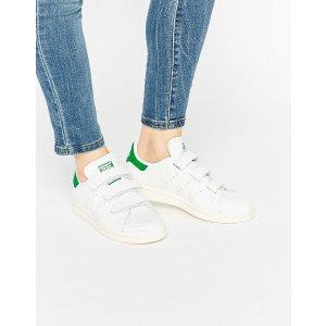 Adidas   adidas Originals Faux Snake White Velcro Stan Smith Sneakers
