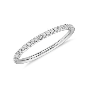 Riviera Petite Micropavé Diamond Ring in 14k White Gold (1/10 ct. tw.) | Blue Nile