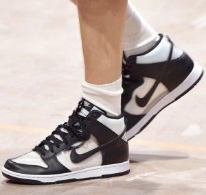 $320Comme des Garçons Homme Plus Black NikeLab Edition Dunk Hi Retro Invisible High-Top Sneakers @ SSENSE