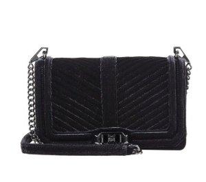 $192.5(原价$275)Rebecca Minkoff 女式黑色天鹅绒斜纹链条包
