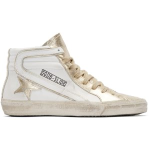 Golden Goose: White & Gold Slide High-Top Sneakers
