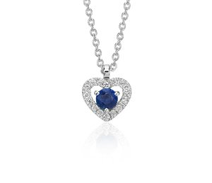 Dealmoon Exclusive! $262.5 (reg. $375)on Petite Sapphire and Diamond Pavé Heart Pendant in 14k White Gold (3mm)