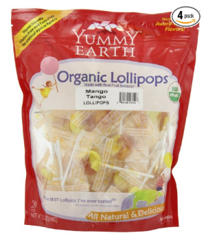 $9.12 YumEarth Organic Mango Tango Lollipops, 12.3 Ounce Bag (Pack of 4)