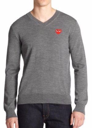 $272.5 (Org. $430) Comme des Garcons Play Worsted Wool V-Neck Sweater @ Saks Fifth Avenue