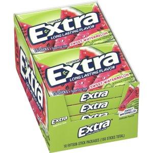 Extra Sweet Watermelon Sugarfree Gum, 15 Stick Slim Pack (Pack of 10)