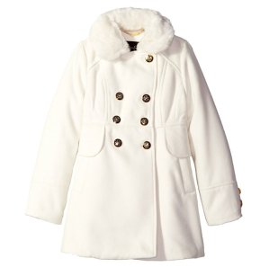 Jessica Simpson Girls' Big Girls' Double Breasted Church Coat with Fur Collar