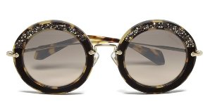 £144 + Free Shipping Miu Miu Women's Round Crystal Sunglasses