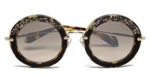 £144 + Free Shipping Miu Miu Women's Round Crystal Sunglasses