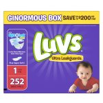 Prime Member Only! Luvs Ultra Leakguards Diapers, Size 1, 252 Count