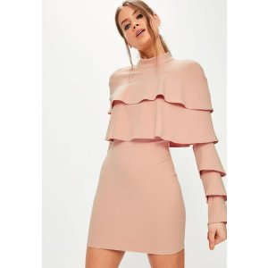 Pink Crepe Layered Frill Bodycon Dress - Missguided