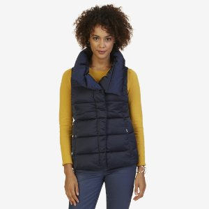 Quilted Shawl Collar Vest - Sky Blue Wash