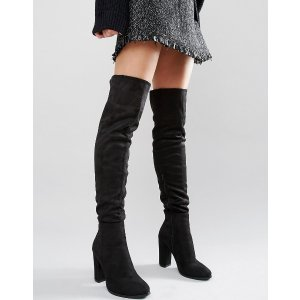 Daisy Street | Daisy Street Black Heeled Over The Knee Boots