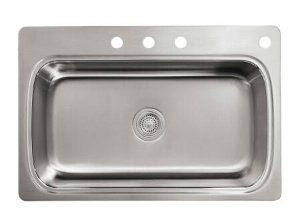 Verse Top Mount Stainless Steel 33 in. 4-Hole Single Bowl Kitchen Sink