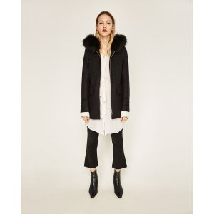 DUFFLE COAT WITH FAUX FUR HOOD - View all-OUTERWEAR-WOMAN | ZARA United States