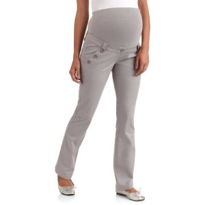 Planet Motherhood Full-Panel Woven Maternity Pants with Button-Front Curved Pockets