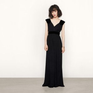 RUDETTE Long dress with suede insets - Dresses - Maje.com