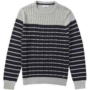Striped Cable Front Sweater - Grey Heather