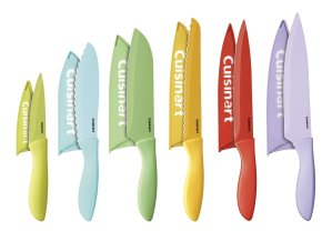 Cuisinart 12-Piece Ceramic Coated Color Knife Set with Blade Guards