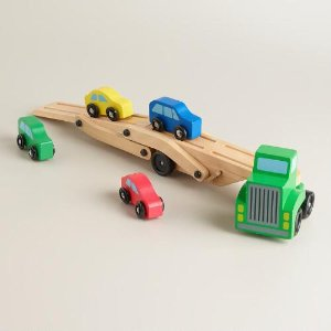Melissa and Doug Car Carrier Truck and Cars Wooden Toy Set | World Market