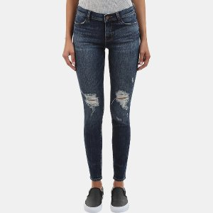 J Brand 620 Mid-Rise Super Skinny Jean in Dark Erosion Denim | ELEVTD Free Shipping & Returns
