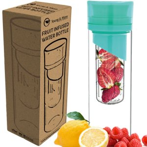 Infuser Water Bottle 24 Oz - Made with TRITAN BPA Free - Young & More N2589 - Free Recipe Ebook Download