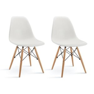 Modern Eames White Dining Chair | Natural Wood DIning Chairs - Sofamania