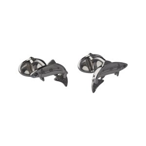 25 Years Ruthenium & Black Diamond Salmon Cufflinks | Gifts Gifts For Him, Official Links of London