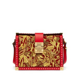 Small Mitte Brocade Crossbody in Ruby Red by MCM