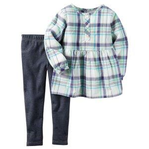 Baby Girl 2-Piece Poplin Top & Jegging Set | Carters.com