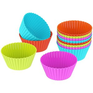 PUREFLY Silicone Baking Cups Cupcake Liners Muffin Cake Molds Sets 12 pack