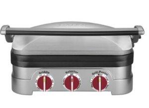 Cuisinart GR-4NR 5-in-1 Griddler, Silver, Red Dials