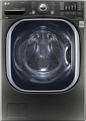 LG - 4.5 Cu. Ft. 14-Cycle Front-Loading Washer - Black stainless steel