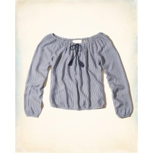 Girls Off-The-Shoulder Tie-Neck Top | Girls Clearance | HollisterCo.com