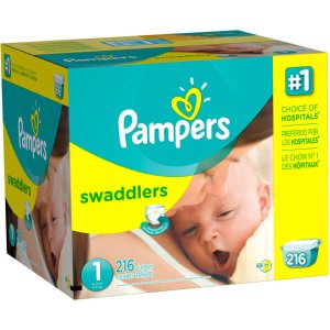 As Low As 11.8¢ / eachPampers Swaddlers Diapers, Size 1, 216 Diapers